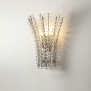 Bead Crystal Wall Sconce Lighting Post Modern 3 Bulbs Silver Finish Wall Mount Lamp