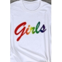 Summer Basic Short Sleeve Crew Neck Letter GIRLS Print Regular Fit Tee Top for Girls