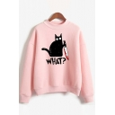 Pretty Girls Long Sleeve Mock Neck Letter WHAT Creepy Cat Graphic Loose Fit Pullover Sweatshirt