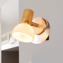 White Glass Dome Wall Light Sconce Modernist 1 Light Wood Wall Mounted Lamp for Bedside