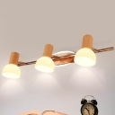 Opal Glass Dome Vanity Light Fixture Modernist 3 Heads Wood Wall Mounted Lamp with Linear Design