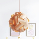 Wood Veneer Waving Suspension Light Contemporary 1 Bulb Beige Ceiling Pendant Lamp