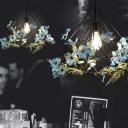 Iron Diamond Cage Ceiling Lamp 1-Light Restaurant Pendant Light Fixture with Flower Decor in Black, 18