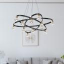 3-Loop Metallic LED Pendant Chandelier Modernism 12 Heads Living Room Ceiling Light with Diamond Crystal Shade in Black