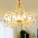 6-Light Hanging Lighting Traditional Scroll Arm Amber Prismatic Glass Chandelier Pendant Lamp