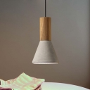 1 Light Ceiling Pendant Light Antiqued Cone/Trapezoid/Can Cement Hanging Lamp in Grey and Wood, 8.5