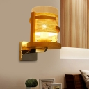 Clear Glass Cylinder/Square Sconce Modernism 1/2-Bulb Wood Wall Mount Lighting with Rope Detail