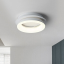 Round/Square Ceiling Flush Mount Contemporary Metal White LED Flush Light Fixture for Living Room in Warm/Natural Light