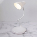 Dome Plastic Shade Task Light Modernist LED White Finish Reading Lamp with Rotatable Design