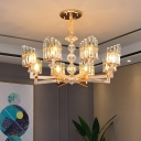 Modern Radial Pendant Chandelier 6/8 Lights Faceted Clear Crystal Prism Hanging Lamp Kit in Silver