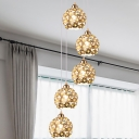 Metal Silver Multiple Hanging Light Dome 5/8 Bulbs Modern Suspension Lamp with Amber Crystal Accent