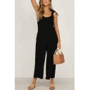 Casual Womens Solid Color Sleeveless V-Neck Bow Tie Shoulder Open Back Ankle Baggy Straight Jumpsuit