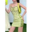 Sexy Cute Girls Sleeveless Plaid Printed Ruched Patchwork Stringy Selvedge Mini Sheath Cami Dress in Green
