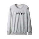 Leisure Mens Long Sleeve Round Neck Letter Deer Graphic Relaxed Fit Pullover Sweatshirt