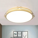 Gold Drum Shaped Ceiling Flush Mount Contemporary Acrylic LED Flushmount Lighting with Curved Design for Bedroom in Warm/White Light