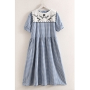 Womens Chic Short Sleeve Sailor Collar Floral Embroidered Checker Print Button Detail Mid Pleated Swing Dress