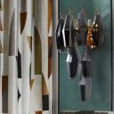 Mid Century 3-Tier Rhombus Wall Sconce Grey-Yellow/Amber/Smoke Grey Glass 7 Heads Living Room Wall Mounted Light Fixture