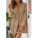 Leisure Fancy Girls Long Sleeve V-Neck Leopard Pattern Ruffled Mini Pleated Swing Dress in Khaki