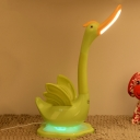 Plastic Swan Shaped Night Table Light Cartoon LED Touching Reading Book Lamp in White/Blue/Green