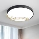 Circular Metallic Flush Ceiling Light Modern LED White/Black Flushmount Lamp with Music Notation Pattern
