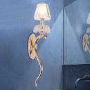 Umbrella Clear Prismatic Glass Sconce Modernism 1 Head Polished Rose Gold Wall Mount Lamp with Wavy Arm