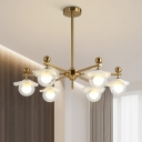 Starburst Hanging Chandelier Modern Clear Glass 6 Lights Gold Ceiling Pendant with Ball Shade and Floppy Hat
