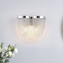 Chain Fringe Bedside Wall Light Aluminum 2 Lights Modern Style Sconce Lamp in Silver