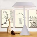 1 Head Bedside Nightstand Lamp Minimalist White Table Light with Mushroom Iron Lampshade