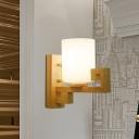 Asian Pillar Milk Glass Wall Light 1 Head Wall Sconce Lighting with Oriental Element in Wood