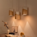 Wood Cluster Rectangle Pendant Nordic 3 Bulbs Beige-White Suspended Lighting Fixture over Table
