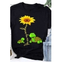 Fashion Girls Rolled Short Sleeve Crew Neck Sunflower Turtle Graphic Fitted T Shirt