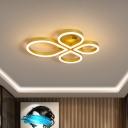 Acrylic Petals Flush Light Contemporary Coffee/Gold 18