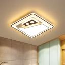 Modernist Squared Ceiling Flush Acrylic LED Bedroom Flush Mount Lighting in White and Black