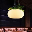 3-Light Planter Hanging Lamp Rural Donut White Glass Suspended Lighting Fixture for Bedroom, 11