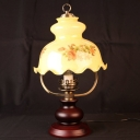 Floral Study Room Table Light Vintage White Printing Glass 1 Head Red Brown Night Lamp