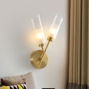 2 Bulbs Wall Mount Lamp Retro Angled Flute Clear and Frosted Glass Sconce in Brass