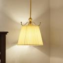 White Barrel Hanging Light Kit Traditional Fabric 1-Light Bedside Pendant Lamp Fixture