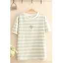 Simple Summer Short Sleeve Crew Neck Monkey Embroidery Stripe Printed Loose Fit Tee Top