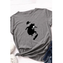 Basic Simple Girls Roll Up Sleeve Crew Neck Bear Printed Slim Fitted T Shirt