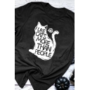 Preppy Looks Short Sleeve Crew Neck Letter I LIKE CATS MORE THAN PEOPLE Cat Graphic Slim Fit T Shirt for Girls