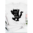 Pretty Cute Girls Roll Up Sleeve Crew Neck Letter I TEACH WILD THINGS Cartoon Graphic Relaxed T-Shirt