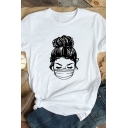 Womens Chic Roll Up Sleeve Crew Neck Cartoon Girl Printed Slim Fitted Tee Top