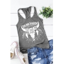 Leisure Womens Sleeveless Round Neck Racer Back Letter DO NO HARM Graphic Relaxed Tank Top