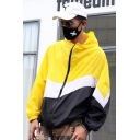 Fashionable Mens Sun Protection Long Sleeve Zip Up Color Block Loose Outdoor Jacket in Yellow