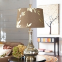 Crackle Glass Long Neck Vase Table Lamp Rural 1-Light Lounge Night Light with Leaf Pattern Fabric Shade in Coffee