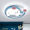 Acrylic Elephant Ceiling Mounted Light Cartoon LED Flushmount Lamp in Blue, White/Warm Light