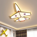 Aircraft Flush Lighting Cartoon Acrylic LED Gold Flush Mounted Lamp in White/Warm Light for Kids Room
