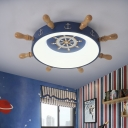 Nautical LED Flush Light Fixture Blue/Wood Rudder Ceiling Mount Lamp with Acrylic Shade in Warm/White Light