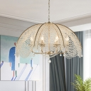 Crystal Stands Dome Suspension Light Traditional 3-Light Bedroom Hanging Chandelier in Gold
