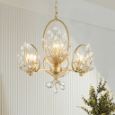 Traditional Branch Pendant Light 3-Bulb Faceted Crystal Chandelier Lamp Fixture in Gold with Ring